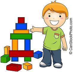 Junge mit Spielzeugblöcken