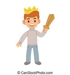 Junge mit Spielzeugschwert