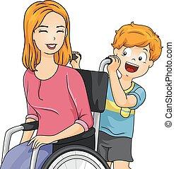 Junge, Mom, Rollstuhl.