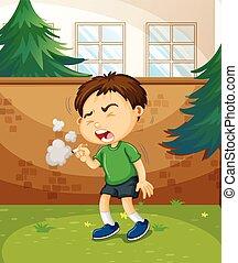 Junge rauchende Zigarette im Park.