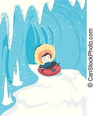 junge, rohr, höhle, schnee, abbildung, eis, kind