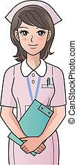 Junge, süße Krankenschwester mit Klemmbrett-Smi