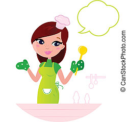 Junge, schöne Frau mit Redeblase in der Küche