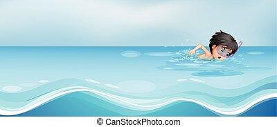 Junge schwimmen allein im Pool.