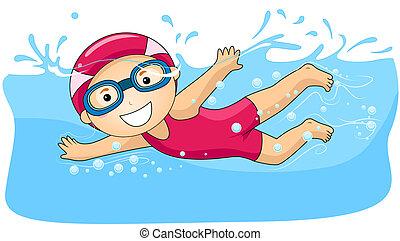 junge, schwimmender
