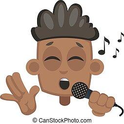 Junge singen auf Mikrofon, Illustration, Vektor auf weißem Hintergrund.