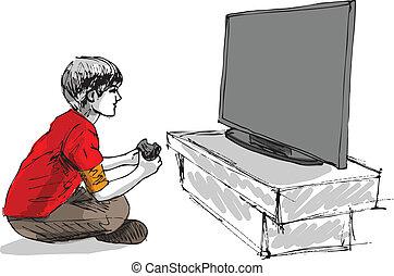 Junge spielt Computer