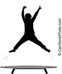 Junge springende Trampolin.
