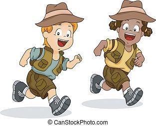 Junge und Mädchen auf der Flucht nach Safari