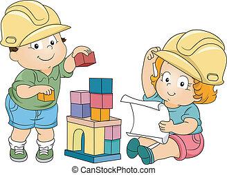 Junge und Mädchen, Kinder-Ingenieure
