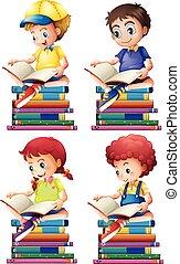 Junge und Mädchen lesen Bücher.