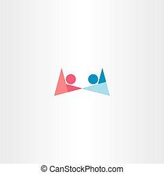 Junge und Mädchen mit Handzeichen abstraktes Logo.