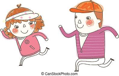 Junge und Mädchen rennen