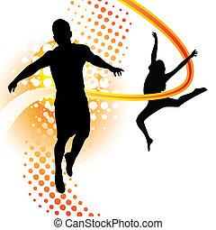 Junge und Mädchen tanzen