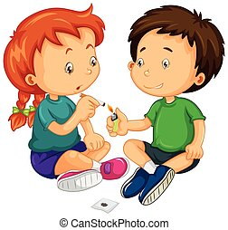 Junge und Mädchen versuchen zu rauchen.