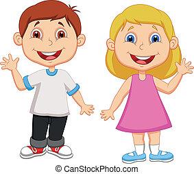 Junge und Mädchen winken Hand