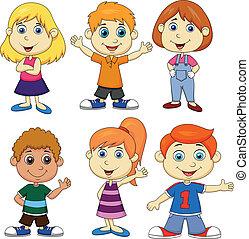 Junge und Mädchen Zeichentrickfilm.