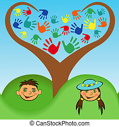 Junge und Mädchengesicht unter einem stilisierten Baum