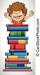 Junge und Stapel Bücher.