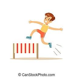 junge, verschieden, üben, rennsport, tätigkeiten, sport, hürde, kind, bildung, klasse, physisch