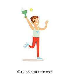 junge, verschieden, üben, tätigkeiten, badminton, sport, kind, bildung, spielende , klasse, physisch