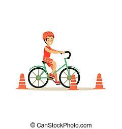 junge, verschieden, üben, tätigkeiten, fahrrad, sport, kind, reiten, bildung, klasse, physisch