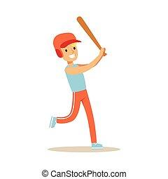 junge, verschieden, üben, tätigkeiten, sport, baseball, kind, bildung, spielende , klasse, physisch