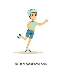junge, verschieden, üben, tätigkeiten, sport, schlittschuhlaufen, kind, bildung, klasse, rolle, physisch