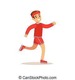 junge, verschieden, rennender , üben, tätigkeiten, sport, kind, bildung, klasse, physisch