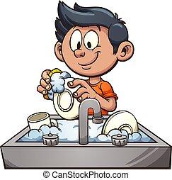 Junge wäscht Geschirr