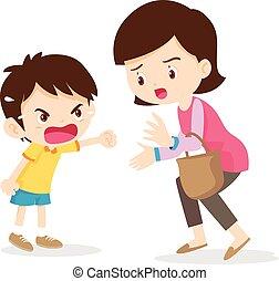Junge, wütend auf Mutter