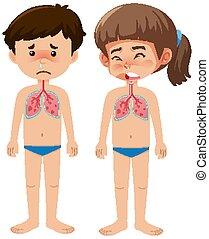 junge, weißes, coronavirus, krank, hintergrund, m�dchen
