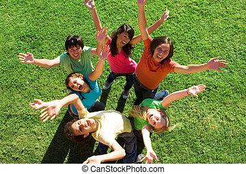 jungendliche, verschieden, gruppe, glücklich