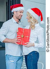 junger, feiern, paar, romantische , weihnachten