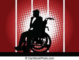 Junger Junge im Rollstuhl.
