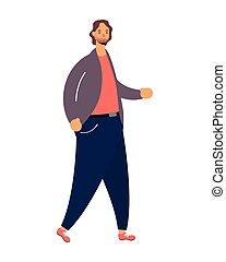 junger mann, avatar, gehen, zeichen