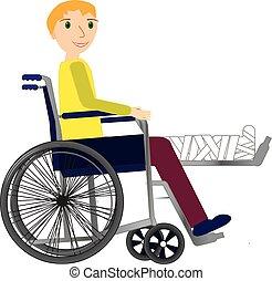 Junger Mann im Rollstuhl mit gebrochenem Knochen.