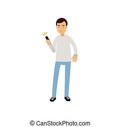 Junger Mann in einer zwanglosen Kleidung mit Smartphone, Mann mit elektronischem Gerät Vektor Illustration.