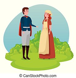 Junger Prinz mit Cape und Mädchen Bauer