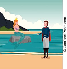 Junger Prinz und Mädchen Meerjungfrau im Stein mit Krone