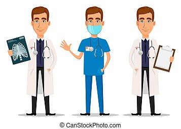 Junger professioneller Arzt, mit Röntgenaufnahme, mit Klemmbrett und winkender Hand