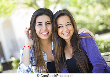 junger, rennen, erwachsener, weibliche , gemischter, porträt, friends