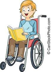 Junger Rollstuhl-Buch.