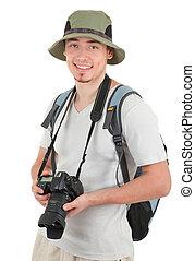 Junger Tourist mit Kamera