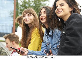 junger, versammlung, frauen, drei, stadt
