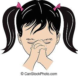 Junges Mädchen betet.