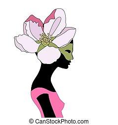 Junges Mädchen. Ein Blumenkranz auf dem Mädchenkopf.
