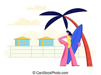 Junges Mädchen mit Surfbrett in den Händen stehend am sandigen Strand unter Palme auf Resort Lodges Hintergrund. Sommerferien, Reisefrauenurlaub in exotischem Land. Kartoon-Flachbild