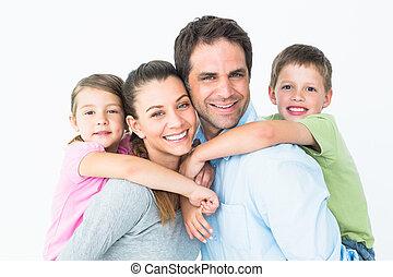 junges schauen, fotoapperat, zusammen, familie, glücklich