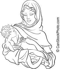 Jungfrau Maria hält Baby Jesus